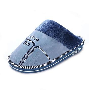 SHANGXIAN Los Hombres Algodón Pantuflas Casa Cómodo Parte Inferior De Espesor Lavable Plano Interior/Exterior Zapatos Antideslizantes,Blue,40/41: Amazon.es: ...