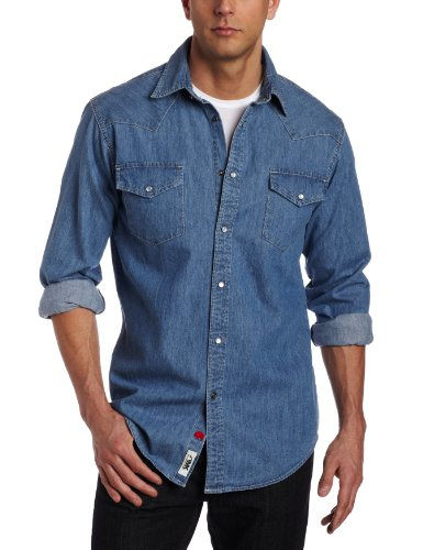 (Mountain Khakis Men's Original Mountain Denim Shirt (Light Indigo, Large))