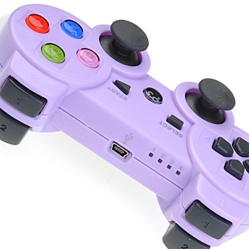 Purple Wireless Bluetooth Six Axis Dualshock Game Controller for Sony PS3