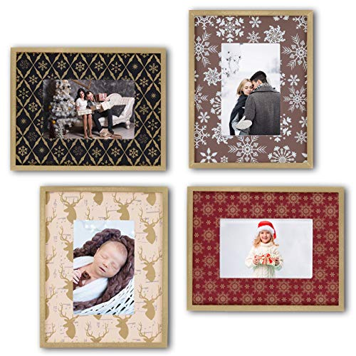 Ohana Avenue 4x6 Picture Frame - Christmas Frame Set of 4 - Tabletop & Wall Mount Gold Edge Wood Photo Frames for Christmas Pictures - Perfect for Baby's First Christmas & Christmas Photos (Of Christmas Photo)