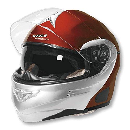 Candy Red Helmet Modular - Vega Summit 3.1 2-Tone Modular Full Face Helmet (Candy Red/Silver, XX-Small)