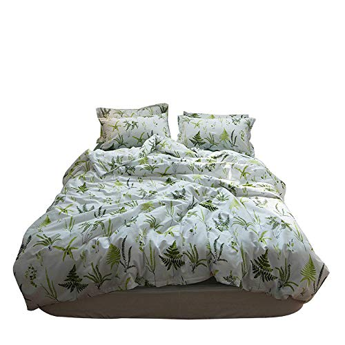 MKXI Soft Cotton Reversible Duvet Cover White Green Leaf Botanical Garden Bedding Set King