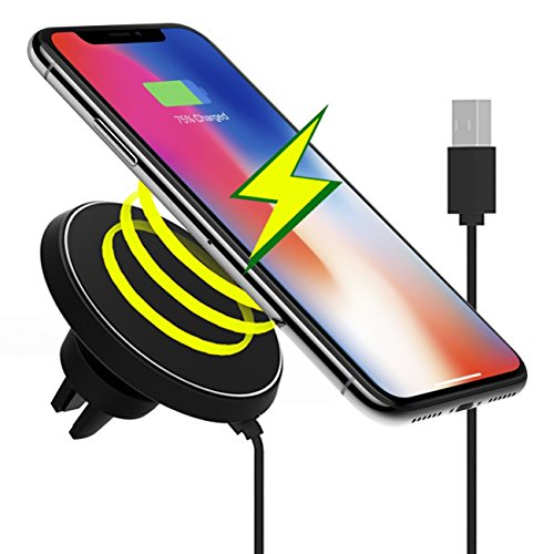 Magnetic Wireless Car Charger Mount, Wireless Qi Standard Mobile Cell Phone Air Vent Magnet Car Mount Holder Cradle and Charger for Qi Android Phone, iPhone 8, Samsung S8 Plus S6 S7 Note 5 LG G3 G6 Nexus 4/5/6/7, Black