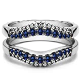 Silver Double Row Contour Shaped Ring Guard with Diamonds and Sapphire (0.53 ct. twt.)