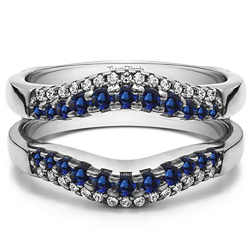 Silver Double Row Contour Shaped Ring Guard with Diamonds and Sapphire (0.53 ct. twt.) by TwoBirch
