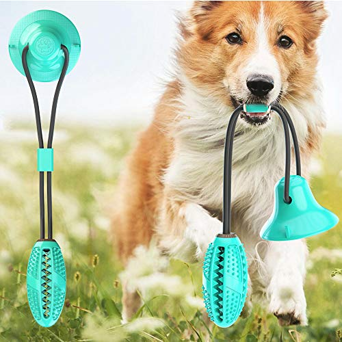 MACUNIN Pet Molar Bite Toy, Multifunction Interactive Ropes Toys with Suction Cup, Self-Playing Rubber Ball Dog…