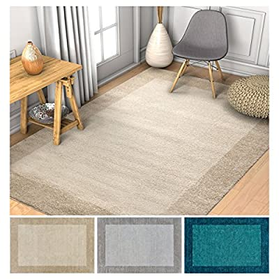 """Frontier Border Plain 3x5 (3'3"""" x 4'7"""") Area Rug Beige Modern Simple Geometric Pattern Contemporary Thick Soft Plush"""