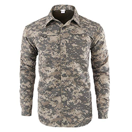 SFE Fashion Very Masculine Men's Quick-Drying Casual Military Pure Color Long Sleeve T-Shirt Tops Working Casual wear Gray]()
