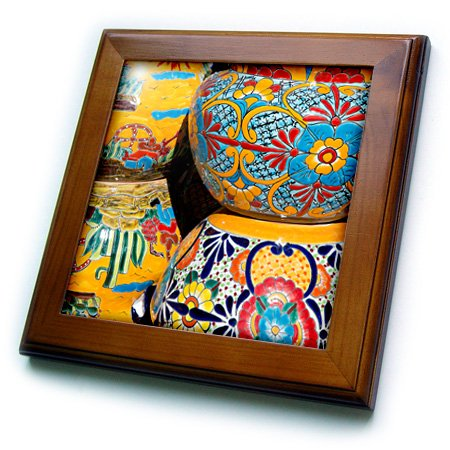 on, Tubac. Traditional Hand-Painted Mexican pottery. - Framed Tile, 8 by 8-Inch (ft_210077_1) ()