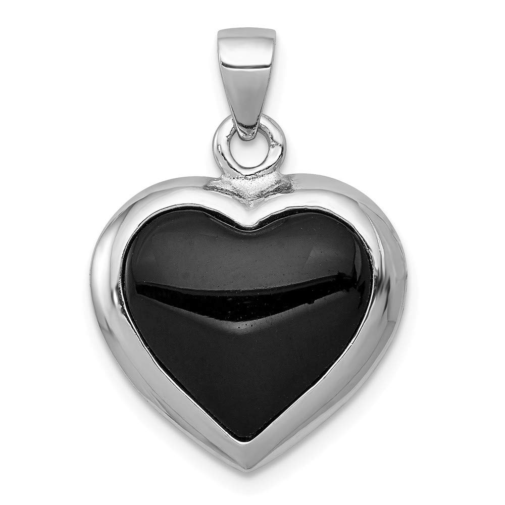 Best Designer Jewelry Sterling Silver Onyx /& Mother Of Pearl Reversible Heart Pendant