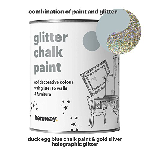 Hemway Duck Egg Blue Chalk Paint (with Silver Gold Holographic Glitter) Sparkle Matt finish Wall and Furniture Paint 1L/35oz Shabby Chic Vintage Chalky Crystal (25 Glittery Colours Available) (Chic Paint Shabby)