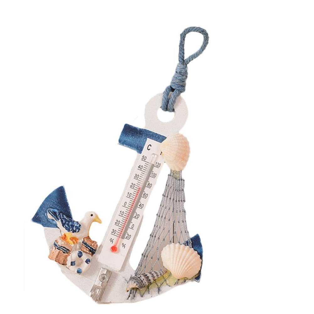 Gaosaili Nautical Wall Decor Hanging Anchors with Thermometer As Decor