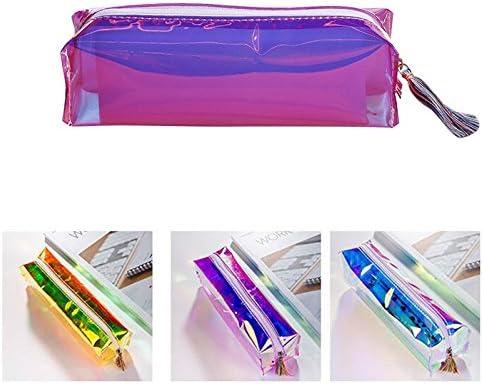 1 estuche de papelería multicolor transparente láser para guardar lápices, bolso escolar Estándar amarillo: Amazon.es: Hogar