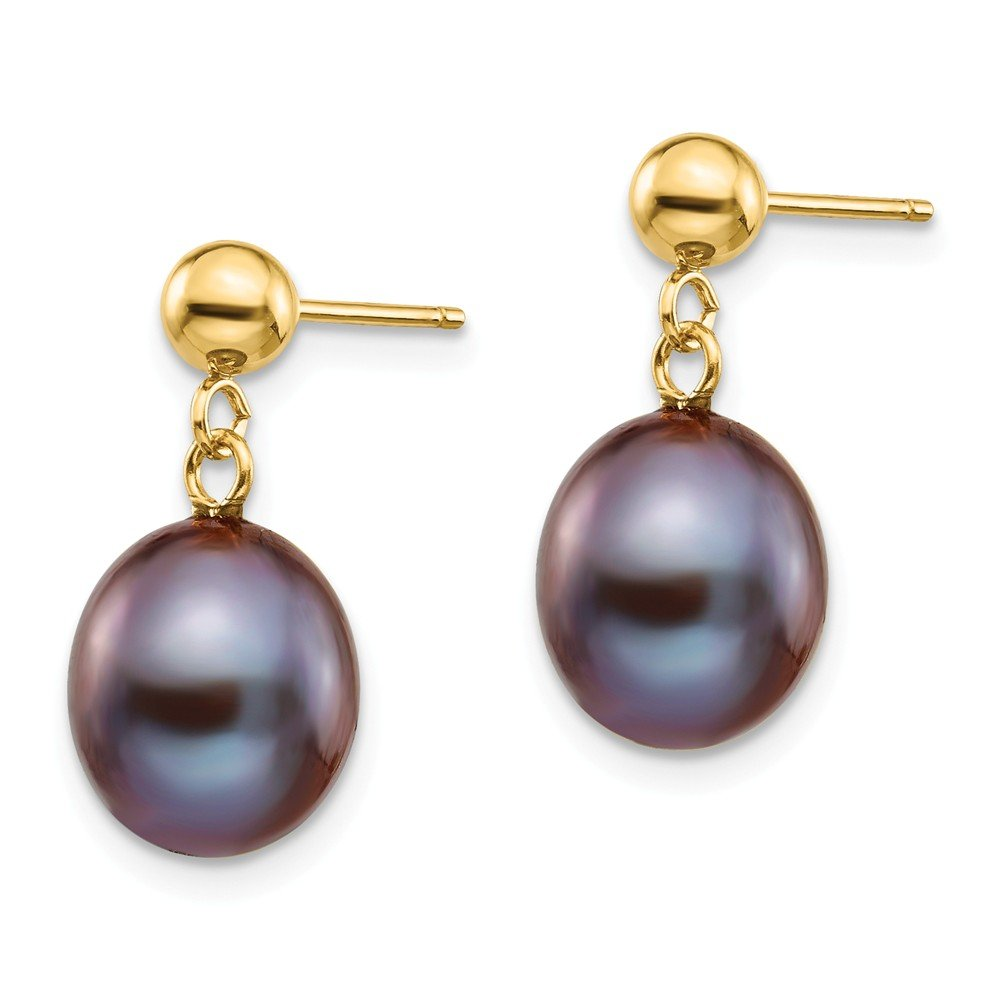 Mia Diamonds 14k Yellow Gold 8-9mm Black FW Cultured Pearl Dangle Earrings