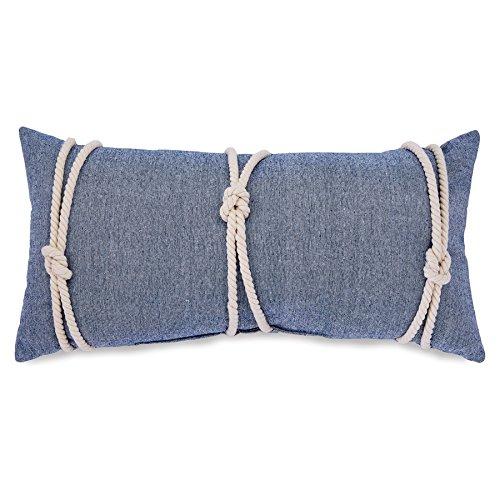 Mud-Pie-4165037B-Nautical-Blue-Chambray-Lumbar-Pillow-Rope-Detailing