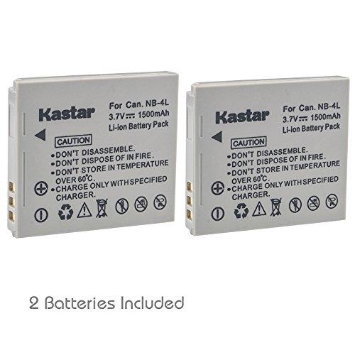 Kastar NB-4L Battery (2-Pack) for Canon PowerShot SD40, SD30, SD200, SD300, SD400, SD430, SD450, SD600, SD630, SD750, SD780, SD940, SD960, SD1000, SD1100, SD1400, TX1, ELPH 100, 300, 310, 331, VIXIA