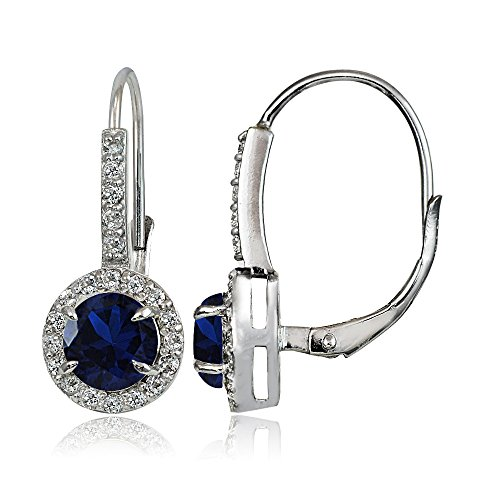 Created Sapphire Sterling Silver Earrings - 3