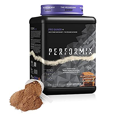 PERFORMIX Pro Gainer+ Multi-Phase Mass Gainer - Time Released Glutamine, Muscle Growth, Recover, Rebuild, Recharge, 5lb, Peanut Butter Fudge