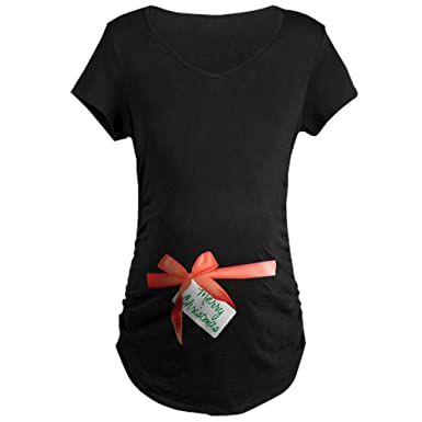 66cdc5bb2f Amazon.com  CafePress Christmas Bow Maternity Dark T-Shirt Maternity Tee   Clothing