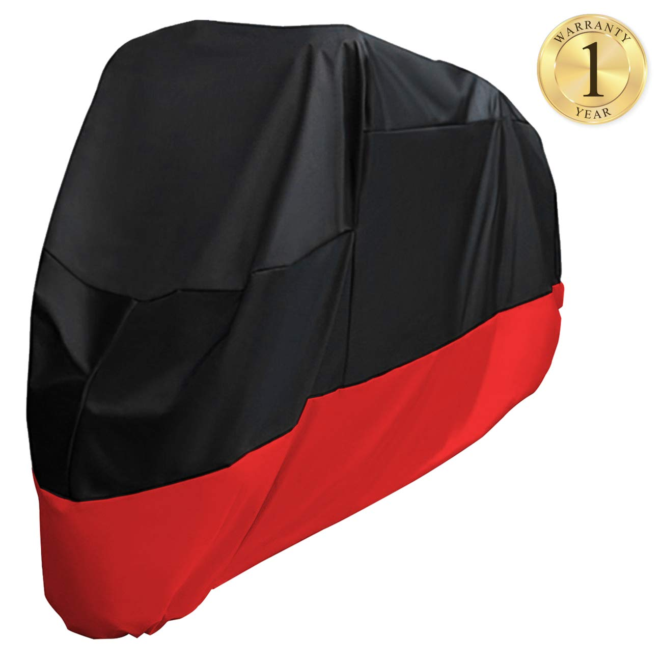 Favoto Motorcycle Cover All Season Universal Premium Quality 190T Waterproof Sun Outdoor Protection Durable with Storage Bag Windproof Buckle Fits up to 265 cm/104 inch Motorcycle Vehicle Cover Classic Color FT0091_US