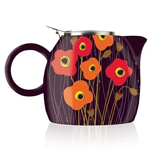 - Tea Forte PUGG 24oz Ceramic Teapot with Tea Infuser, Poppy Fields