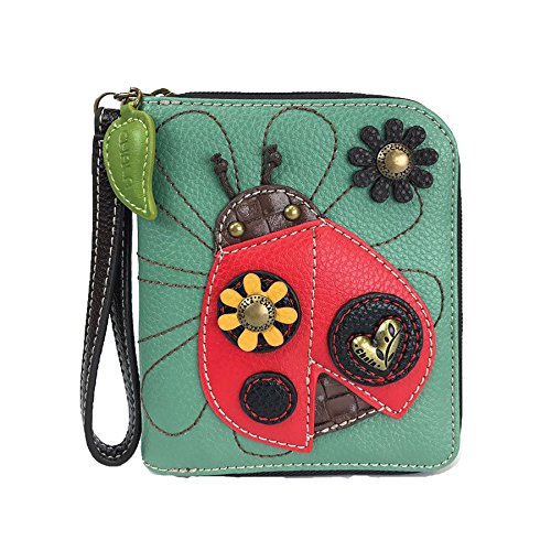 Credit Bug Zip Sturdy Leather Pu Lady Around Card Teal Chala Wristlet Wallet 8 Slots HXqFd78