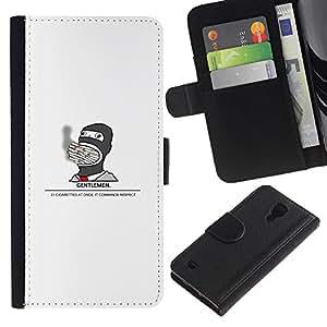 KLONGSHOP // Tirón de la caja Cartera de cuero con ranuras para tarjetas - Gentleman Fumador divertido - Samsung Galaxy S4 IV I9500 //