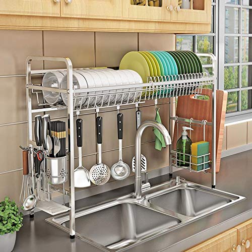 Buy Kurtzy 304 Stainless Steel Over The Sink Space Saving Dish Drainer Storage Organizer Rack For Kitchen Utensils 60 X 28 X 60 Cm Online At Low Prices In India Amazon In