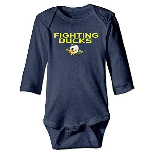 Kid Baby Ncaa Oregon Ducks Fighting Teams Logo Long-sleeve Romper Jumpsuit (Oregon Embroidered Long Sleeve)
