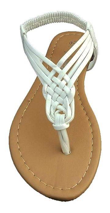 60bdac7ba CmFncy Elegant Women s Fashion White Color Gladiator Thong Flat Cute Sandals  with Rhinestones White 5