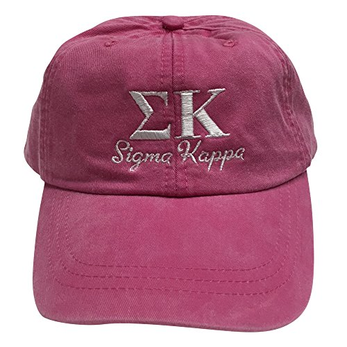 Sigma Kappa (S) Hot Pink with White Thread Sorority Baseball Hat Cap Greek Letter Sports Cap Adjustable - Ralph Return Lauren Policy