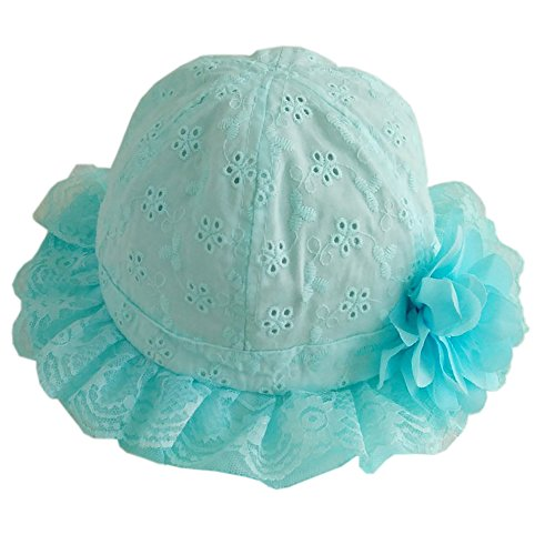 Topprom Baby Girl Flap Sun Protection Swim Hat Eyelet Embroidery Cooling Cap (Blue) - Blue Surfing Wallpaper