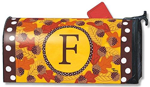 Fall Follies Monogram F Magnetic Mailbox Cover Autumn Leaves Acorns Letter F - Cover Lynn