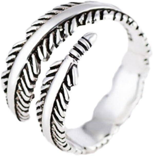 CAOLATOR Anillo de Plata Color de Diamante en Forma de Pluma Diamantes Abierto Metal-Ajustable para Mujer