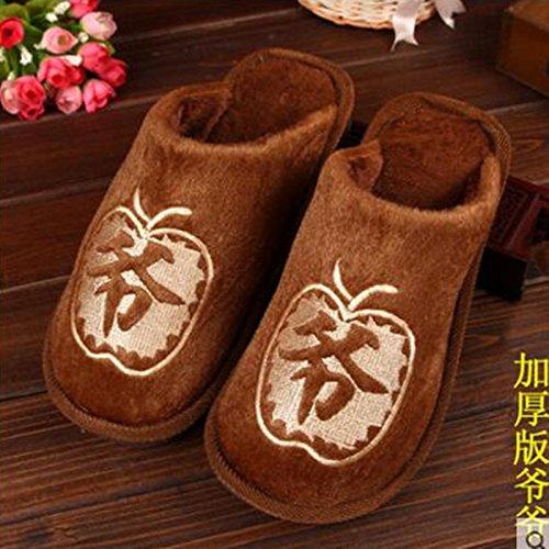 42 Zapatos A 44 Hombres Calientes Interior De Los Las Brun290 Remolque Felpa Mujeres Abuelo De Deslizador Yardas De 43 Antideslizantes Algodón Laxba Algodón De Invierno De Acolchado Zapatillas CFOFStBqnx