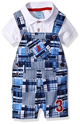 U.S. Polo Assn. Baby Boys' 2 Piece Shirt and Shortall Set, Designed Plaid, - Boy Shortalls Baby