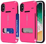 iPhone X Case,Guardful [Shockproof] Credit Card Case [Dual Layer] Protective Hybrid Case [Coin Standing] with One Card Slot Wallet for Apple iPhone X (Hot Pink)