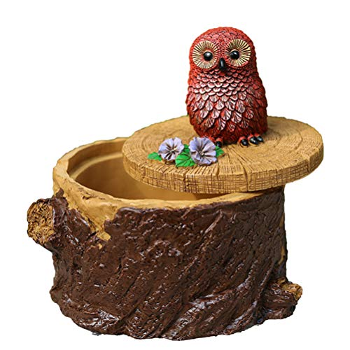 Hushfly Cigarette Ashtray with Lid Decorative Tabletop Ash Tray for Home (Owl) (Ashtray Bird)