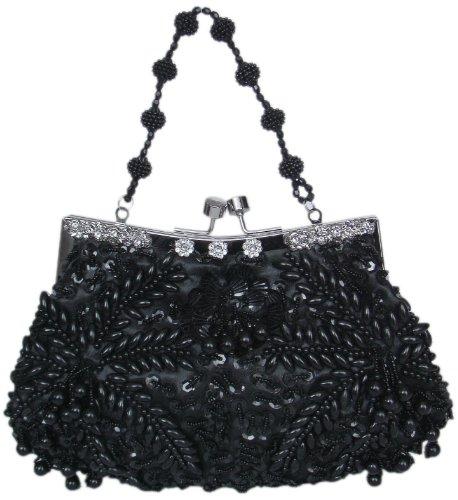 Elegante Abendtasche mit Perlen,27x17 cm Schwarz