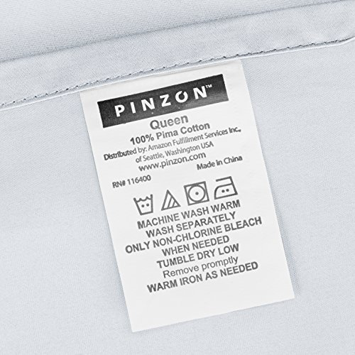 Pinzon 500-Thread-Count Pima Cotton Sateen Bed Sheet Set - Queen, White