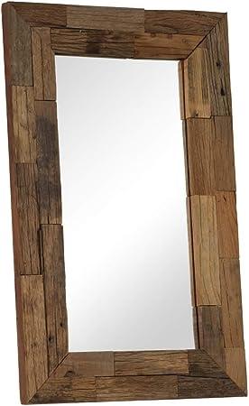 ROMELAREU Espejo de Madera Maciza de traviesas del Tren 50x80 cmCasa y jardín Decoración Espejos: Amazon.es: Hogar