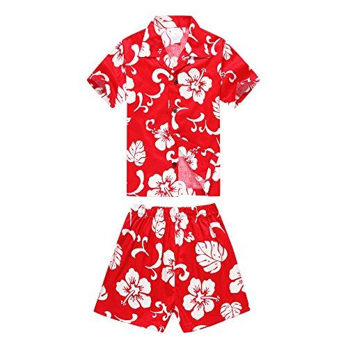 Boy Hawaiian Aloha Luau Shirt and Shorts 2 Piece Cabana Set in Red Hibiscus 8 Year ()