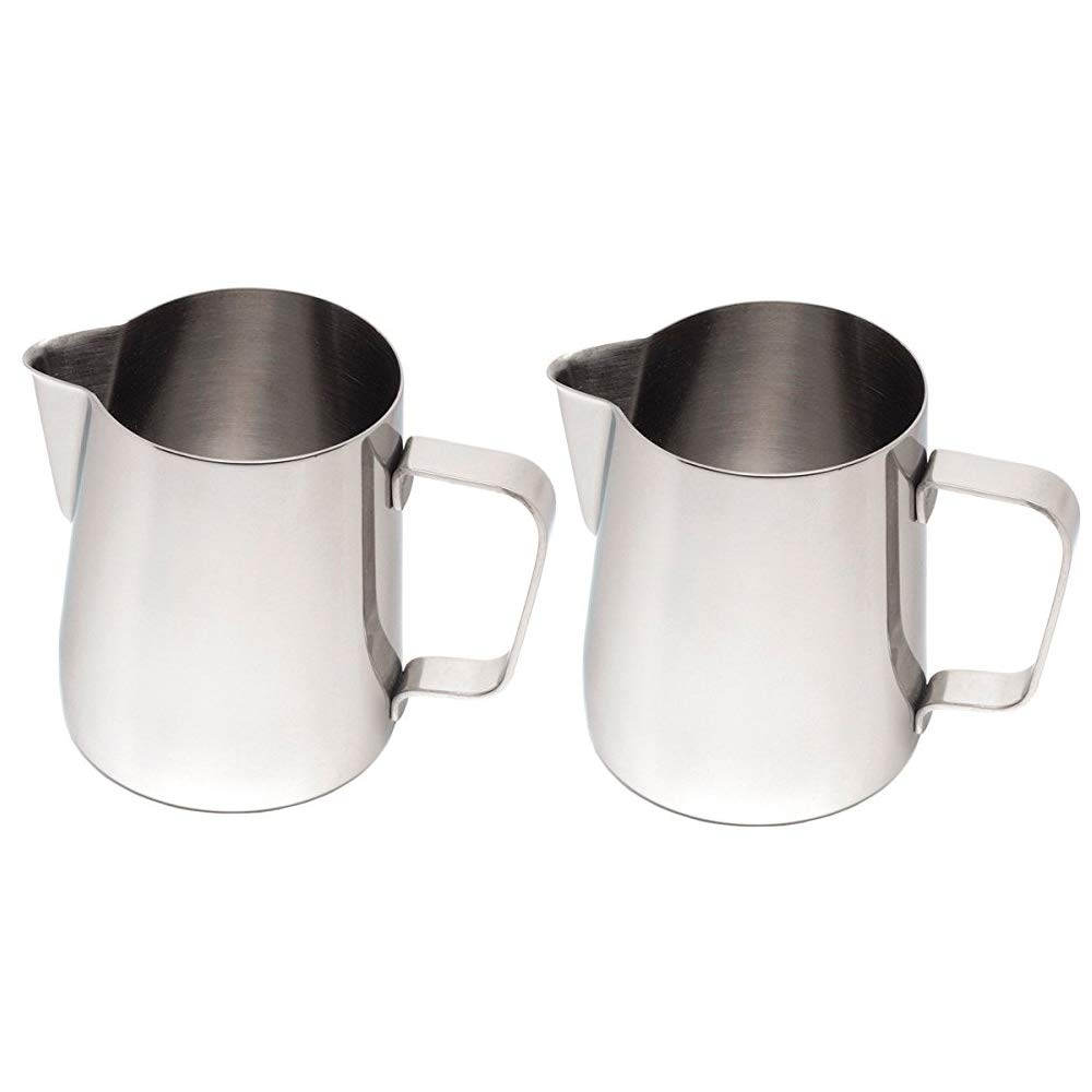 (Set of 2) 12-Ounce Milk Frothing Pitcher, Small Milk Frother Pitcher by Tezzorio, Stainless Steel Milk Steaming Frothing Pitchers for Espresso Machines, Milk Frother/Latte Art