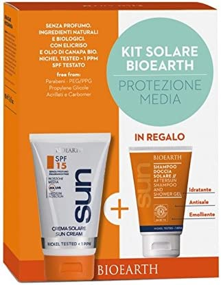 BIOEARTH Travel Kit Solari SPF15 Crema Solare + Doccia