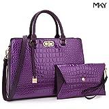 Women Leather Fashion Handbag Purse Satchel Shoulder Bag Wristlet Wallet Set Purple