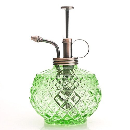 Purism Style Plant Mister- Green Color Glass Bottle & Brass Sprayer (Antique (Green Antique Bottle)