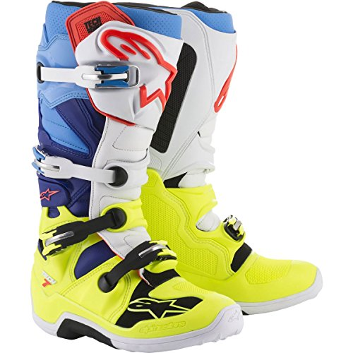 Alpinestars Tech 7 Men's Off-Road Motorcycle Boots - Yellow/White/Blue / 5 by Alpinestars