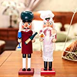 gelvs 15 inch Large Wood Nutcrackers Figure Restaurant Colletion set of 2 style Bartender Chef Puppet Decoration