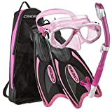 Cressi Palau Long Mask Fin Snorkel Set, Brisbane Pink, X-Small/Small