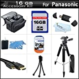 16GB Accessory Kit For Panasonic HDC-SD90K 3D Ready SD Camcorder Includes 16GB High Speed SD Memory Card + 57'' Full Size Tripod w/ Case + Deluxe Case + Mini HDMI Cable + LCD Screen Protectors + USB 2.0 SD Card Reader + MicroFiber Cleaning Cloth + More